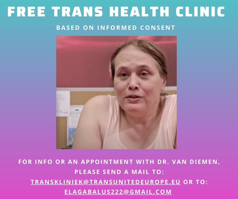 For info or an appointment mail to transkliniek@transunited.eu, or elagabalus22@gmail.com