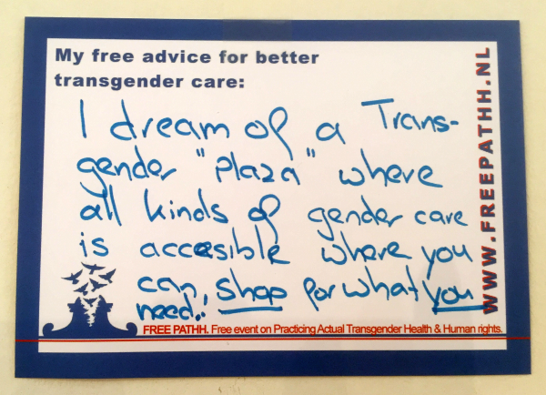 "I dream of a transgender ""plaza"" where all kinds of gender care are accessible, where you can shop for what you need."