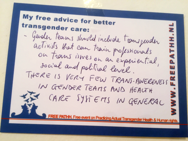 Gender teams should include transgender activists that can train professionals on trans issues on an experiential, social and political level. THERE IS VERY FEW TRANS-AWARENESS IN GENDER TEAMS AND HEALTH CARE SYSTEMS IN GENERAL.