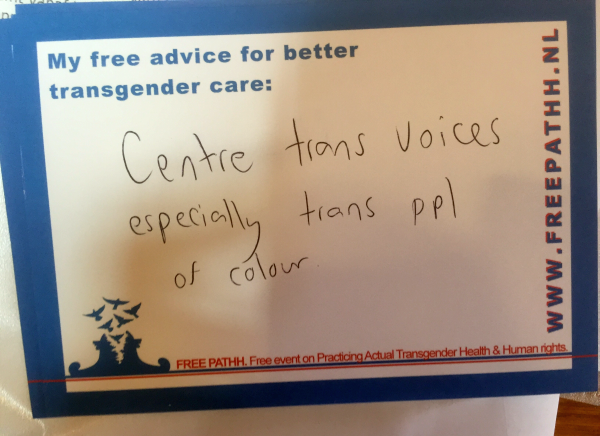 Centre trans voices, especially trans people of colour.