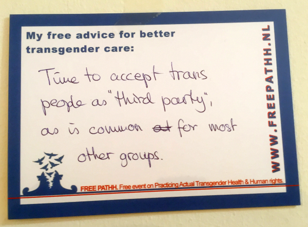 "Time to accept trans people as ""third party"", as is common for most other groups."