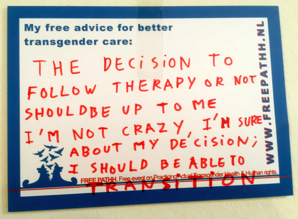 The decision to follow therapy or not should be up to me, I'm not crazy, I'm sure about my decision; I should be able to TRANSITION.