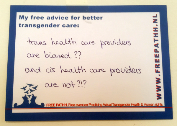Trans health care providers are biased?? And cis health care providers are not?!