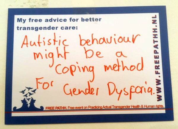 Autistic behaviour might be a coping method for gender dysphoria.