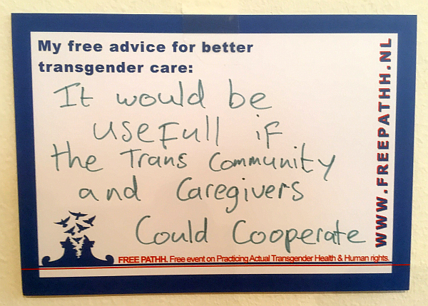 It would be useful if trans community and caregivers could cooperate.
