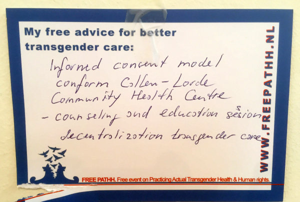 Informed consent model conform Callen-Lorde Community Health Centre - counseling and education session, decentralization transgender care.